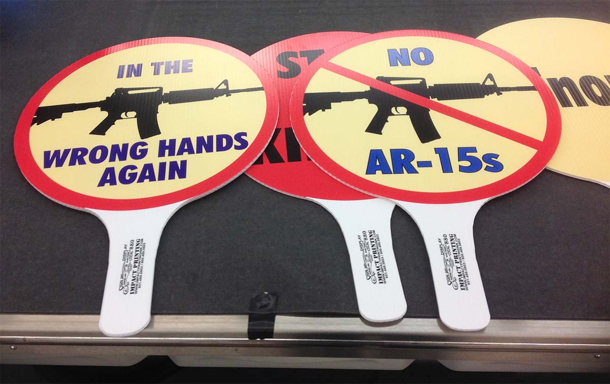No AR-15s Rally Signs at Impact Printing St. Paul MN.