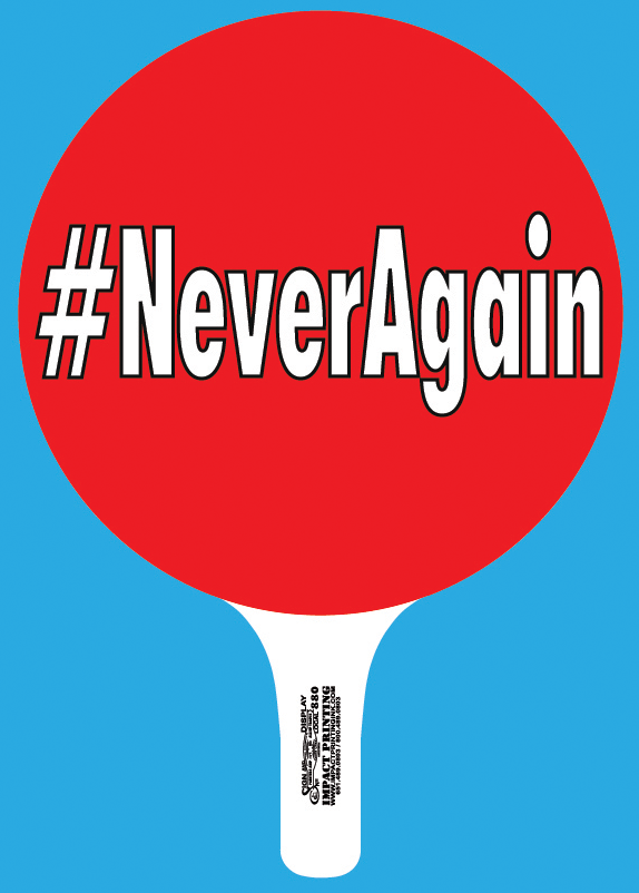 HashTag Never Again Rally Sign pick up at Impact Printing St. Paul MN.